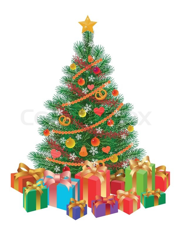 decorated christmas tree wirh presents isolated stock vector colourbox
