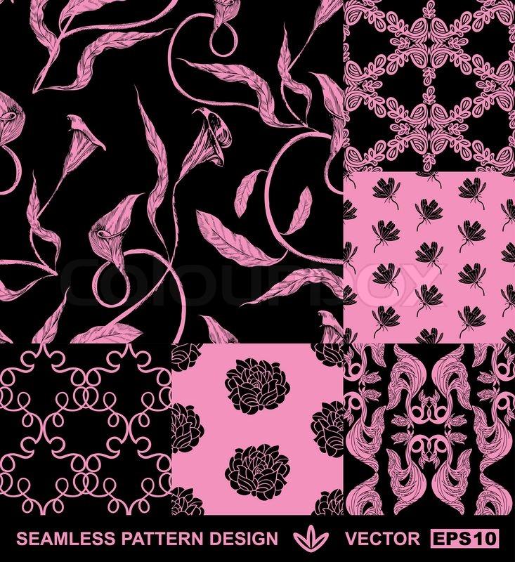 abstrakte hintergr nde damast mode nahtlose muster monochrome vector wallpaper vintage. Black Bedroom Furniture Sets. Home Design Ideas