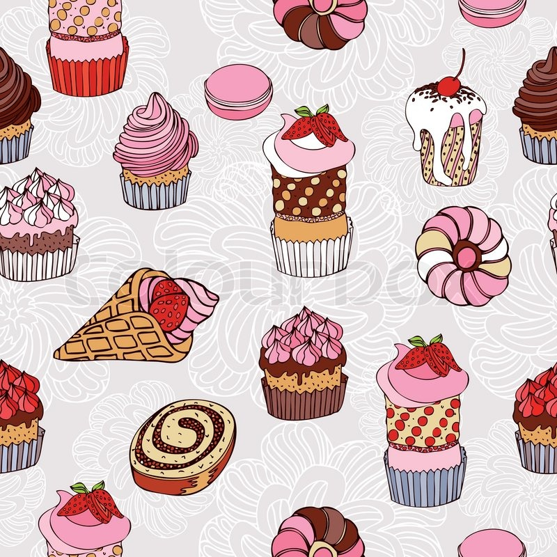 Wallpaper Vintage on Abstract Background  Cakes Seamless Pattern  Vintage Vector Wallpaper