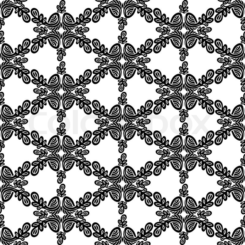 Abstract Damask Background Black And White Fashion Seamless Pattern Monochrome Vector Wallpaper Vintage Fabric Wrapping With Graphic Flower Ornament