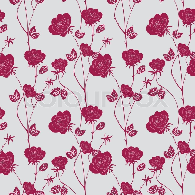 Abstract Roses Background Vintage Seamless Pattern Vector Wallpaper Retro Fabric And Wrapping With Graphic Red Leafs Summer Spring Style For
