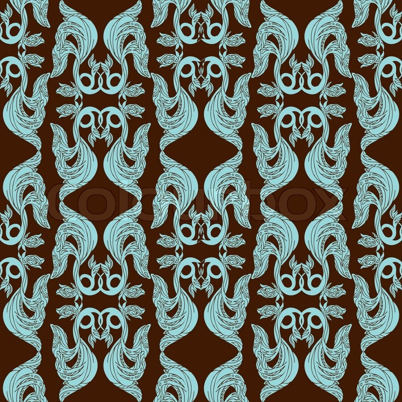 Abstract Damask Background Fashion Seamless Pattern Monochrome Vector Wallpaper Blue And