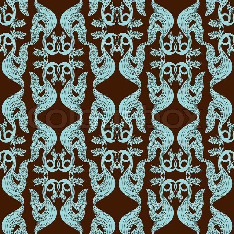 Abstract damask background, fashion seamless pattern, monochrome ...