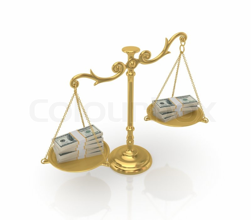 Money packs on a golden antique scales | Stock Photo ...