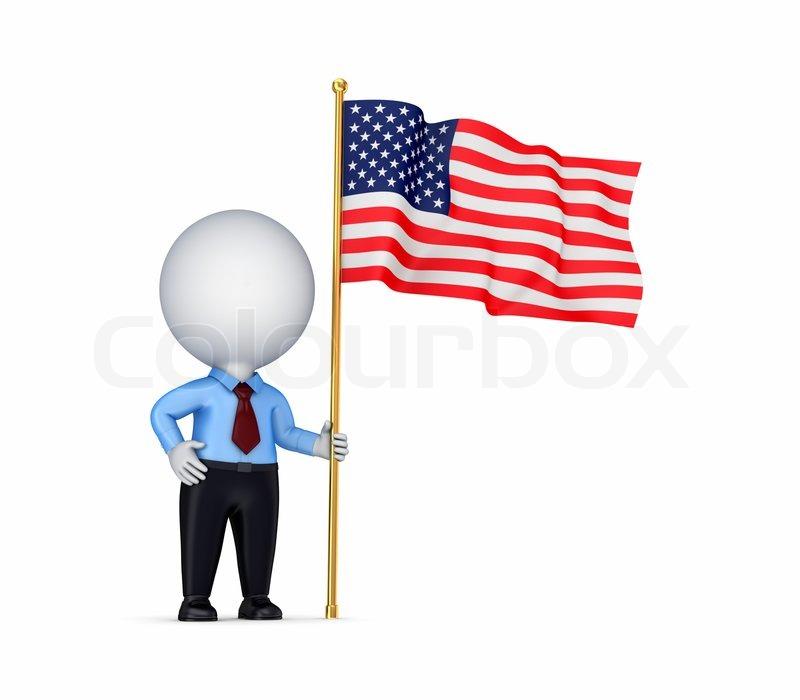 3d kleine person mit amerikanischer flagge in einer hand. Black Bedroom Furniture Sets. Home Design Ideas