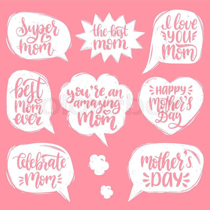 Vector set of Mothers Day hand     | Stock vector | Colourbox