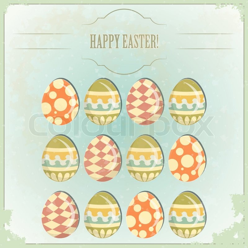 Easter Eggs -old postcard in vintage     | Stock vector
