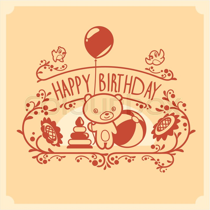 Vector Happy Birthday Card With Cute
