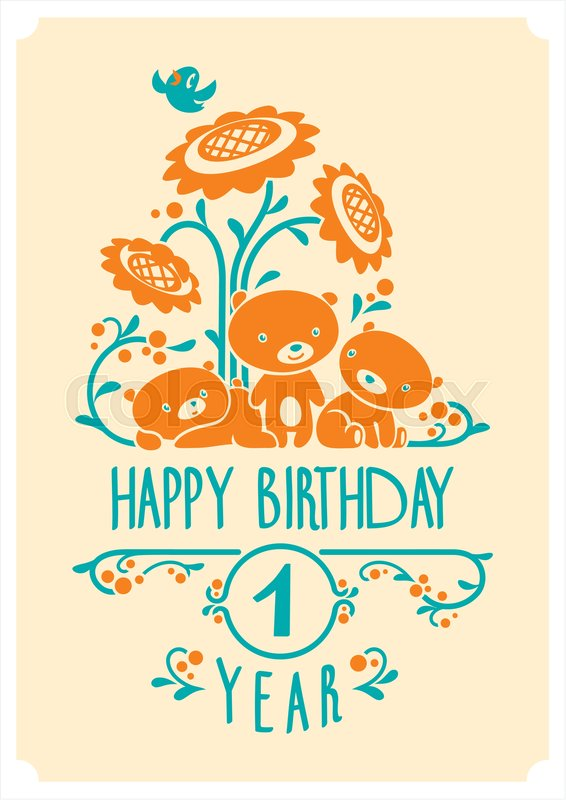 Vector Happy Birthday Card With Three
