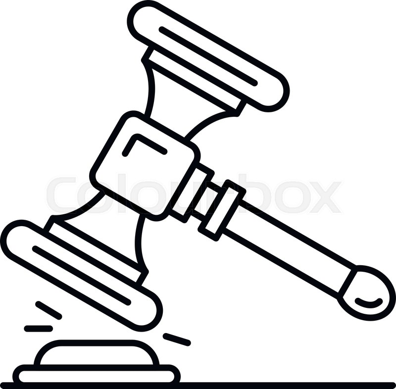 Wood Gavel Icon Outline Wood Gavel Stock Vector Colourbox