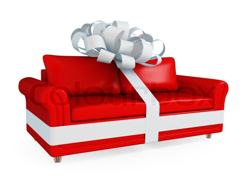 red leather sofa wrapped with a white ribbon stock photo