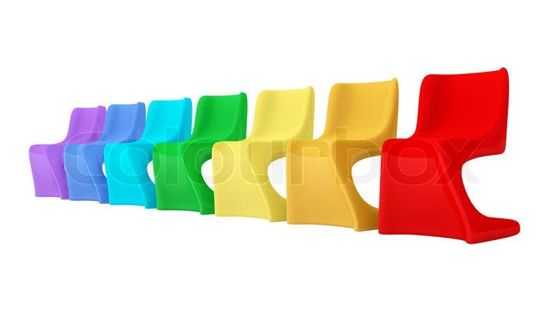 Colorful Modern Plastic Chairs, Stock Photo