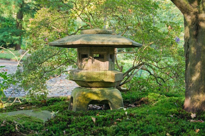 Japanese garden lantern stock photo colourbox for Japanese landscape lanterns