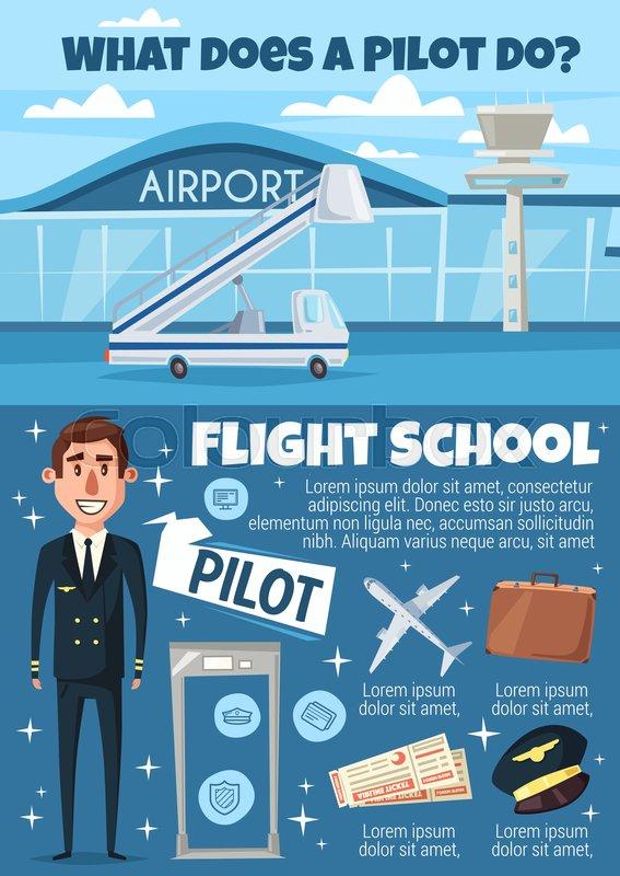 Pilot profession and flight school      | Stock vector