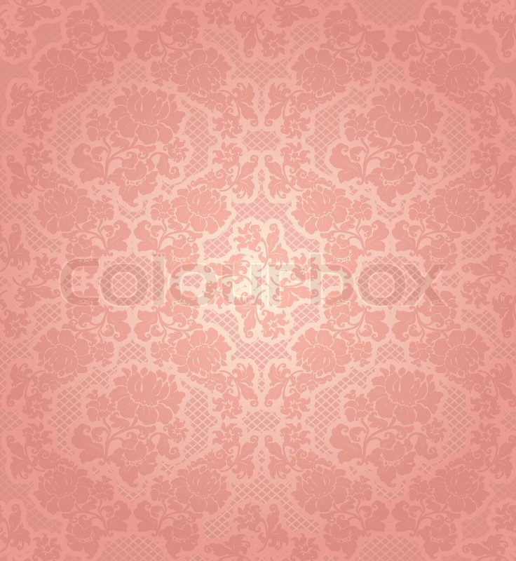 Lace Background Ornamental Pink Flowers Template Stock
