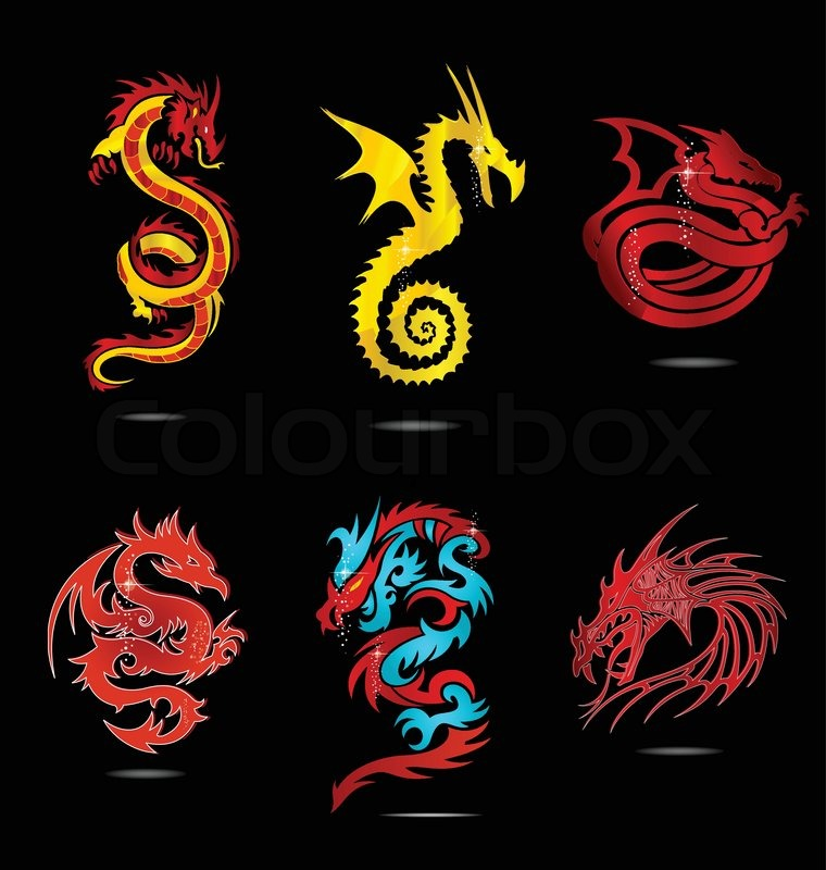 Abstract Glass Religion Dragon Symbols Set Isolated Stock Vector