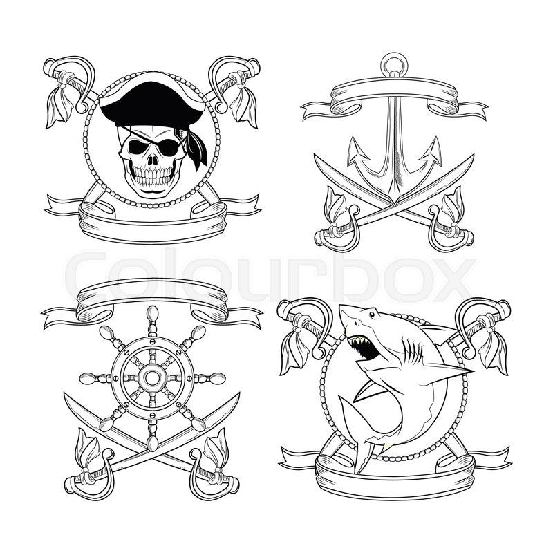 2ca2ab7e5 Skull sword shark anchor rudder ribbon ... | Stock vector | Colourbox