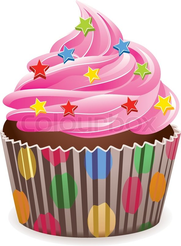 Vector pink cupcake with sprinkles | Stock vector | Colourbox