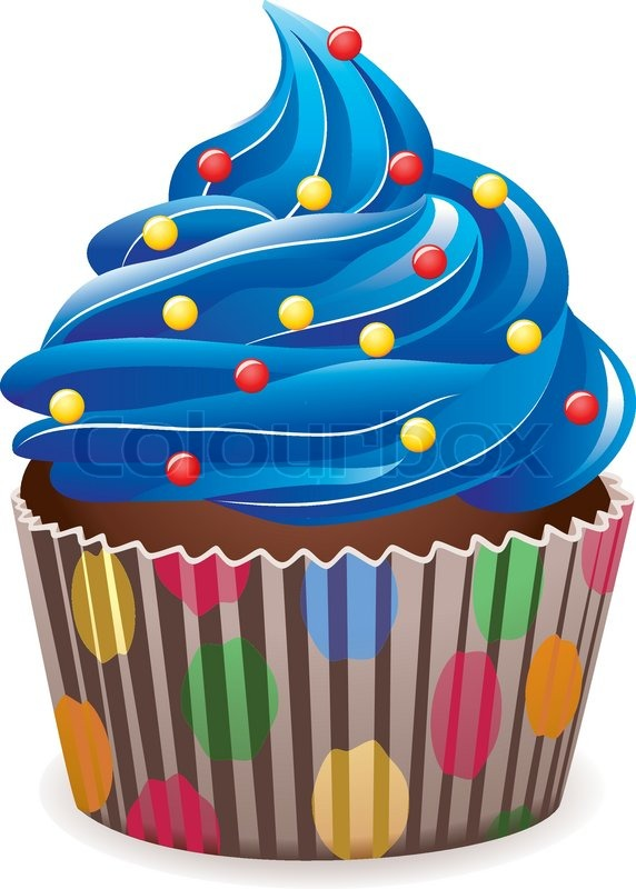 Cupcake Animated Images : Vector blue cupcake with sprinkles Stock Vector Colourbox