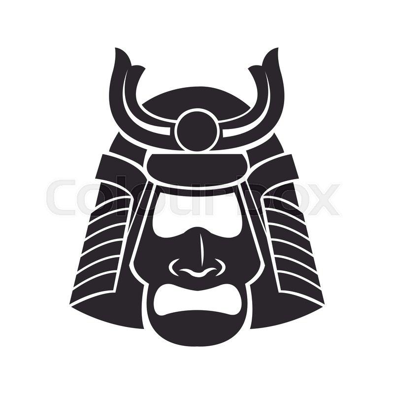 Japanese Samurai Mask Warrior Vector Stock Vector Colourbox