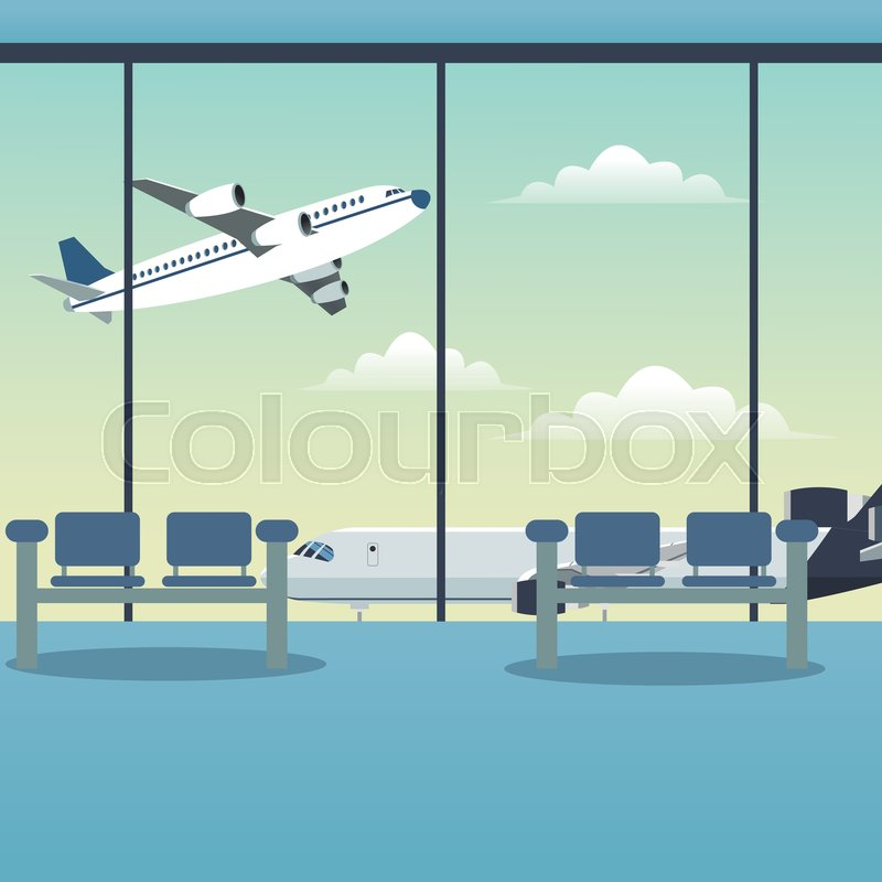 Waiting Room Airport Plane Vector Stock Vector Colourbox