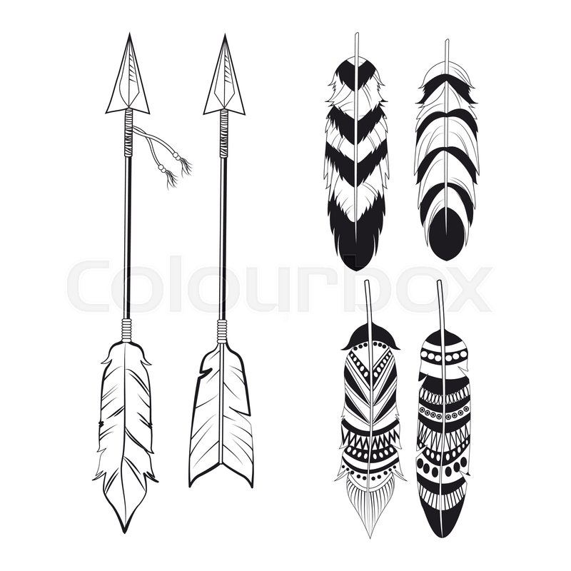 Free Spirit Feathers And Arrows Stock Vector Colourbox