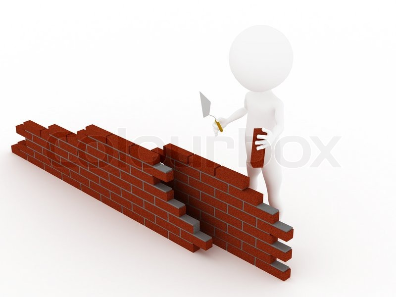 3d Man In A Hardhat Building Brick Wall