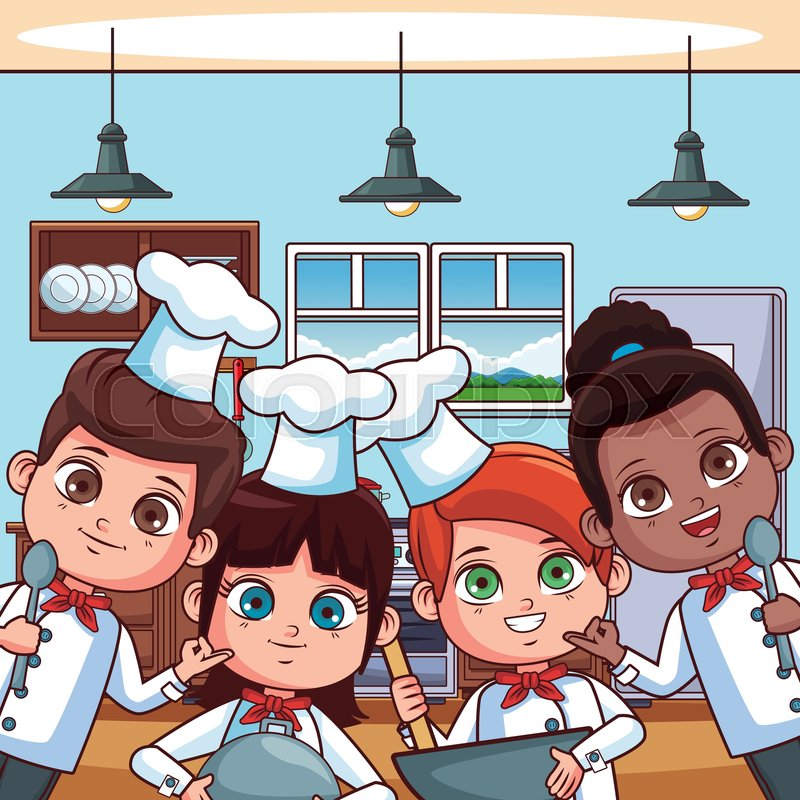 Chef Kids Cooking At Kitchen Cartoons Stock Vector Colourbox