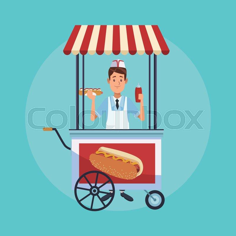 Hot dog stand street cartoon vector     | Stock vector