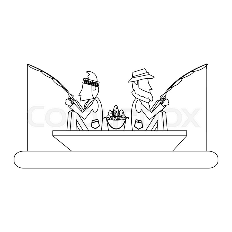 Fishermen In Boat With Rods Vector Stock Vector Colourbox