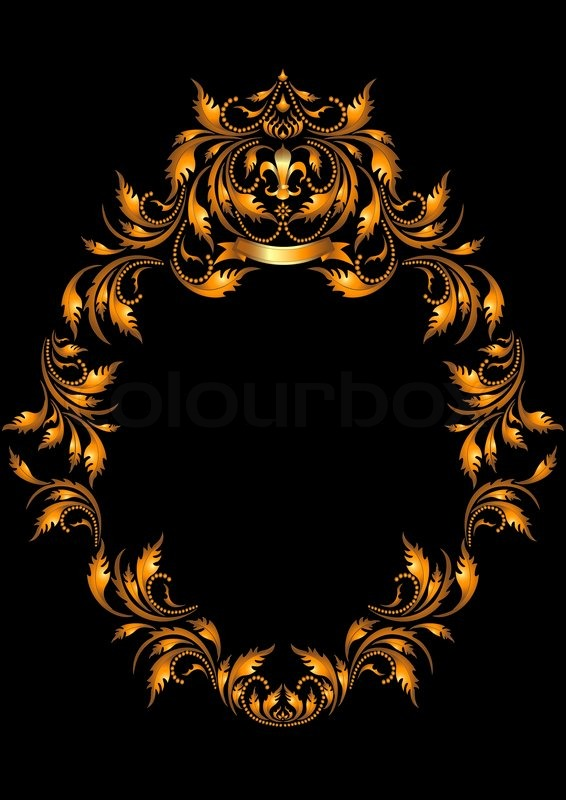 gold oval frame in the gothic style on a dark background