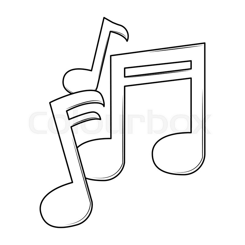 Music Notes Cartoon Black And White Stock Vector Colourbox