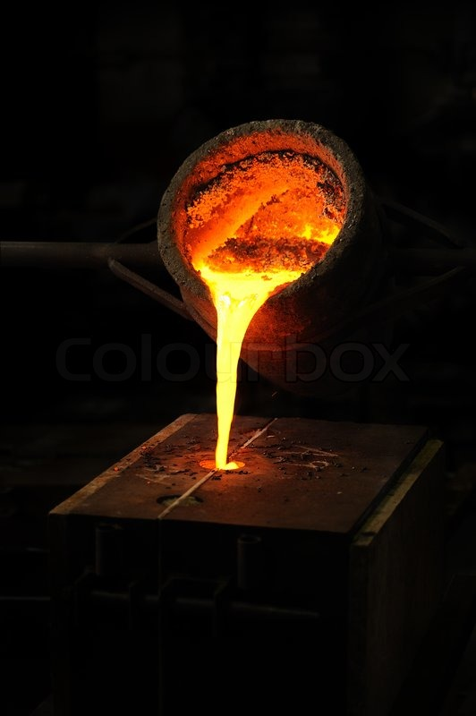 Cast In Steel : Foundry molten metal poured from ladle into mould lost