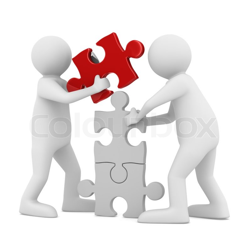 Two Man Build Puzzle On White Isolated 3d Image Stock Photo