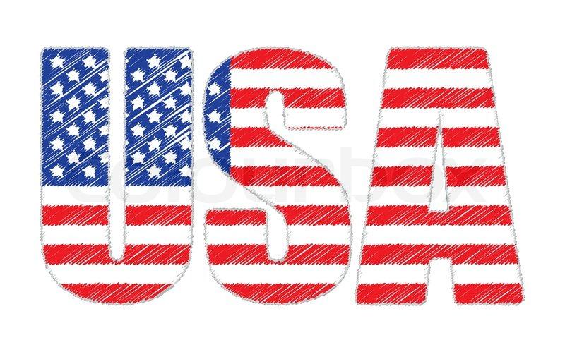 Usa Aus Kritzelte United States Flag Vektorgrafik Colourbox