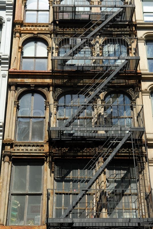 Old Building With Fire Ladder New York City Stock Photo