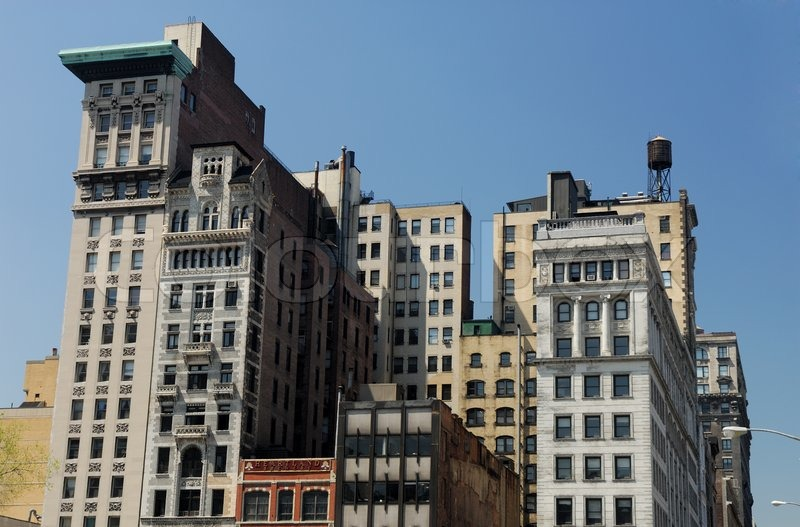 buildings in new york city with deco facade stock photo colourbox