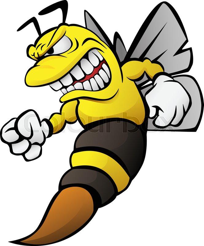 Aggressive Funny Cartoon Bee Wasp