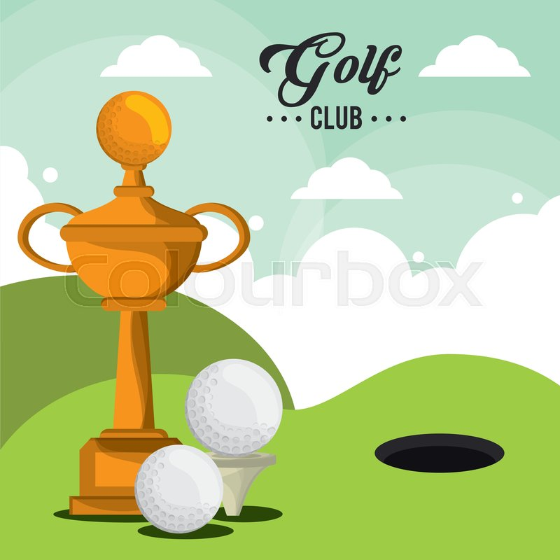 Golf Club Trophy Balls And Field Hole Stock Vector Colourbox