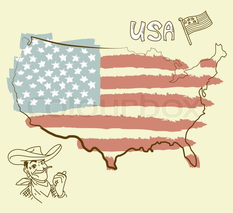 USA map with US flag Stock Vector Colourbox