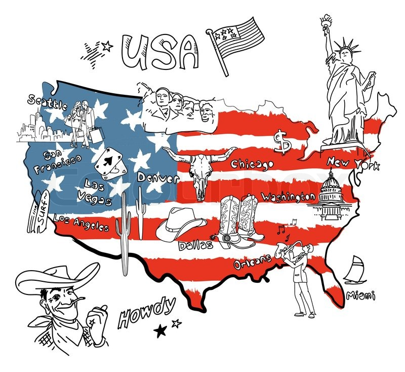 stylized map of america things that different regions in election day 2017 clipart election day clipart
