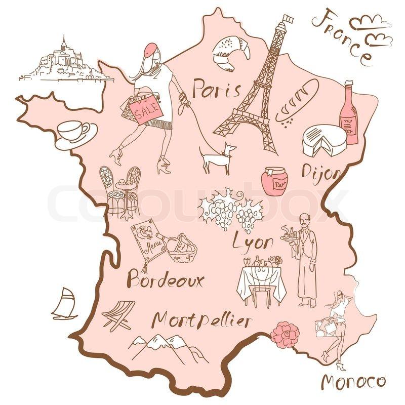 Stiliseret Kort Over Frankrig Ting At Stock Vektor Colourbox