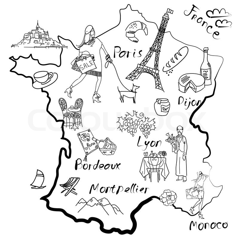 Stylized Map Of France Things That Different Regions In France Are Famous For Vector 3623483 on dog drawings for sale