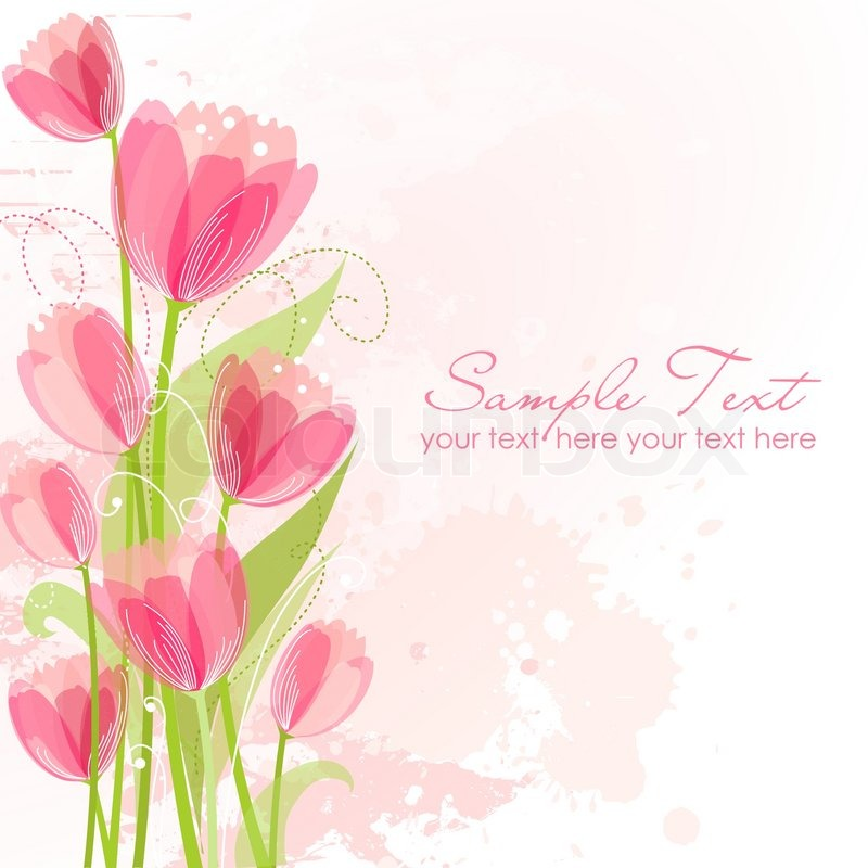 Floral Background With Tulips Stock Vector Colourbox