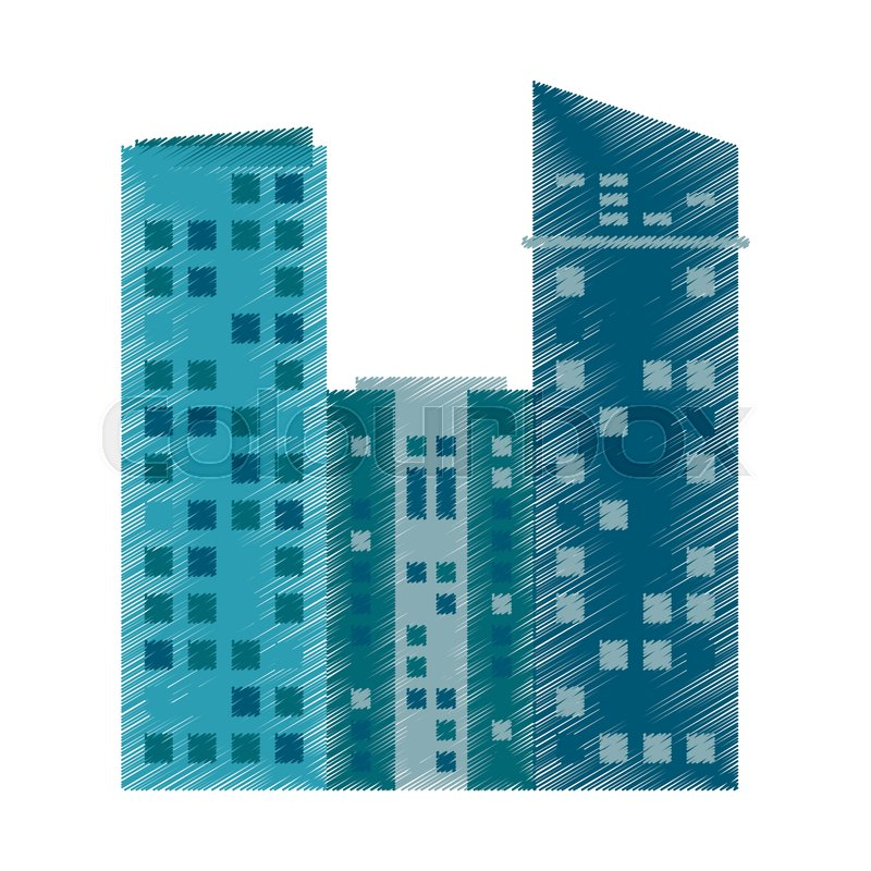 Drawing building architecture modern vector illustration eps 10, vector