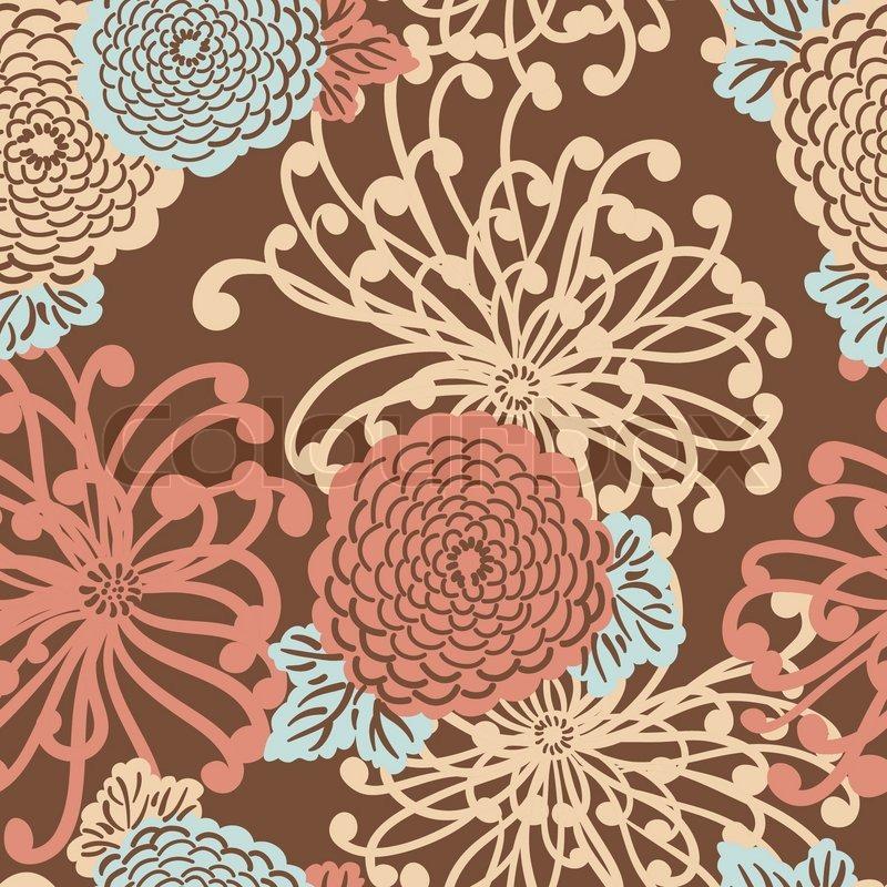 Art deco flower seamless pattern retro style vector for Art deco flowers