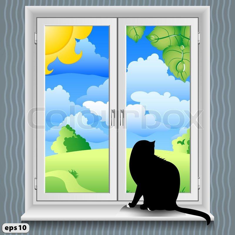 Fenster und Katze im Sommer | Vektorgrafik | Colourbox
