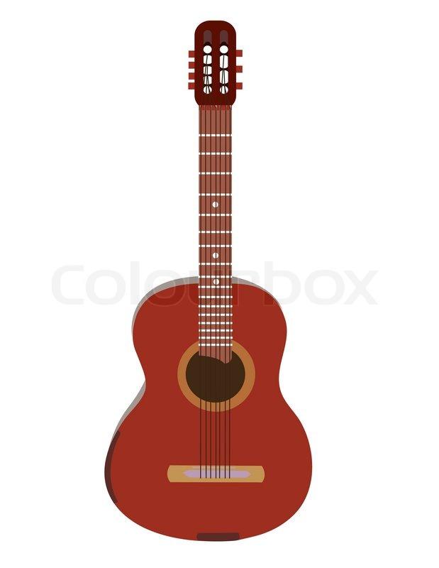 Acoustic guitar on white Vector | Stock Vector | Colourbox