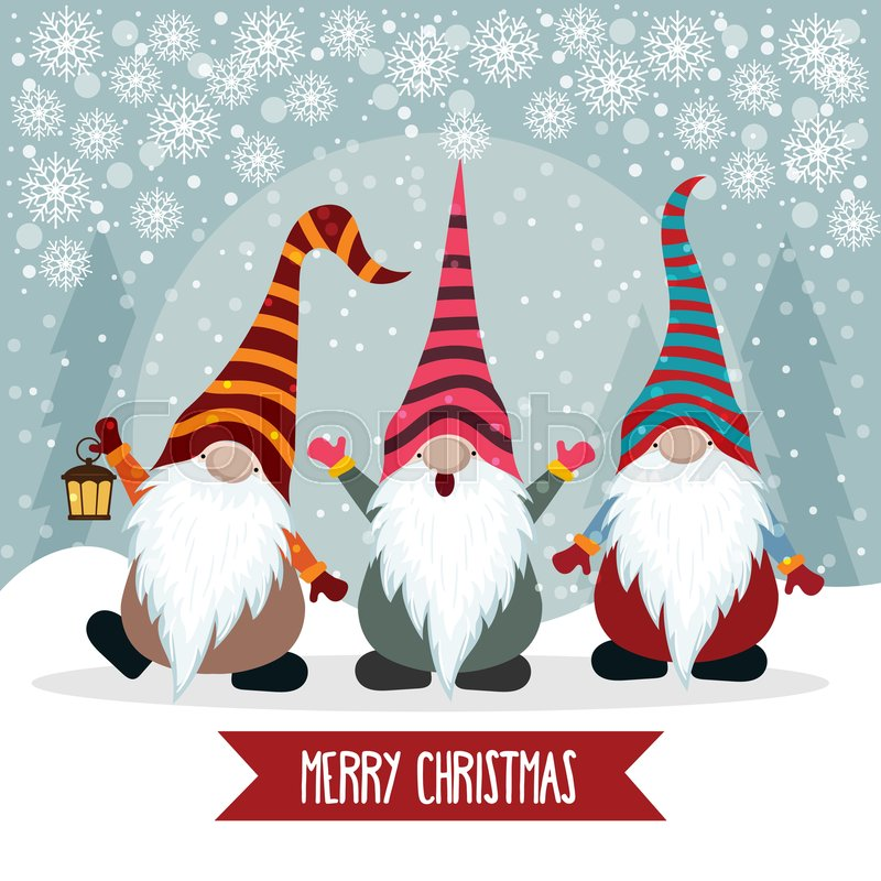 Christmas Gnomes Images.Christmas Card With Cute Gnomes Flat Stock Vector