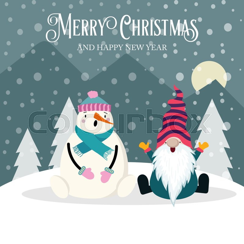 Beautiful Christmas Card With Gnome Stock Vector